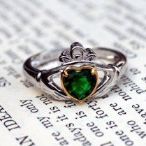 Our Emerald Claddagh Heart Ring is brilliant.