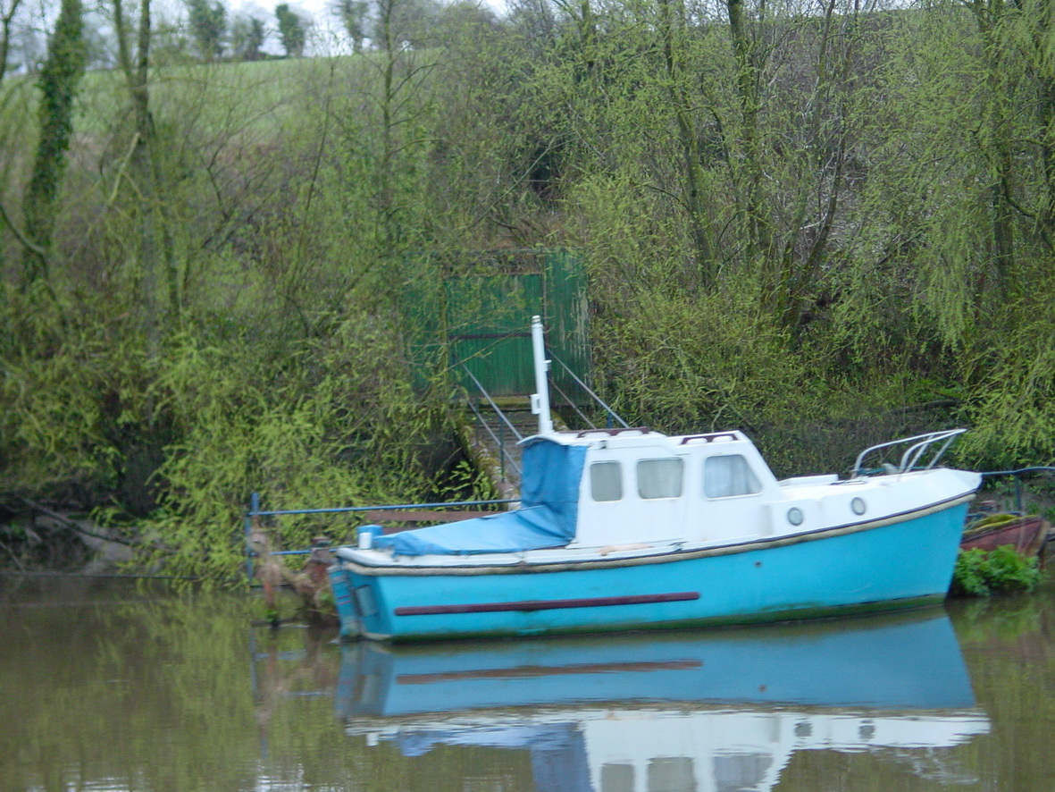 Boat moored on the west bank