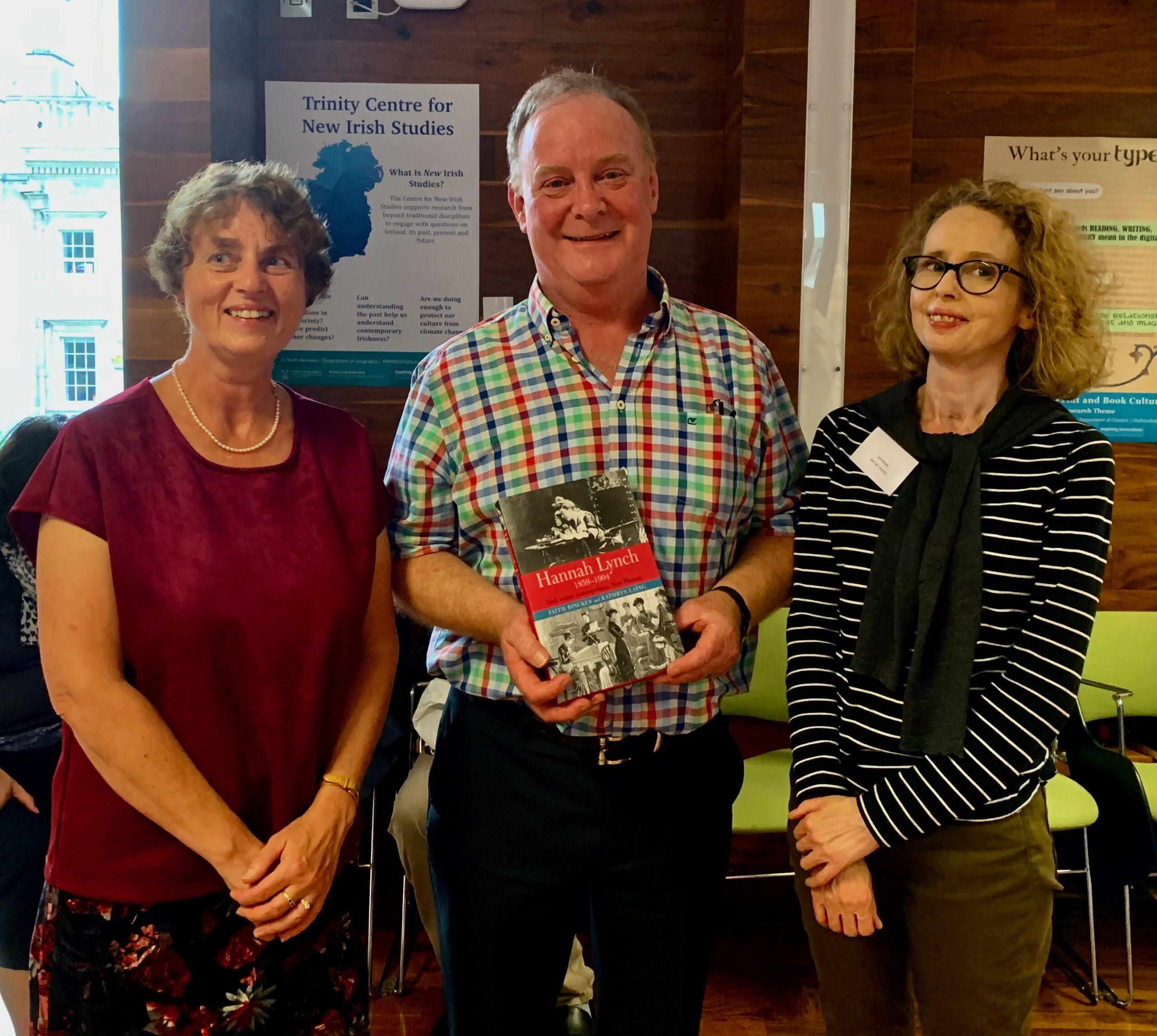 Hannah Lynch Book Launch, IASIL Conference, 24 July 2019. Names from left to right: Kathryn Laing, Michael Counahan (grand-nephew of Hannah Lynch), Faith Binckes
