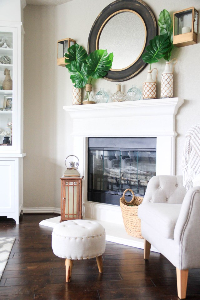 Living Room Decorated for Summer with a Palm/Coastal Vibe