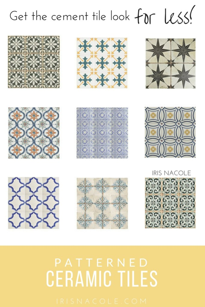 Patterned Ceramic Tile-Cement Tile Look for Less