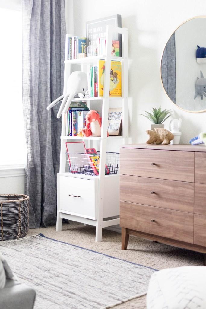 Modern Beach-Big Boy Bedroom-Makeover-Home Makeover-Kids Bedroom Inspiration-Storage-Shelving-IrisNacole.com