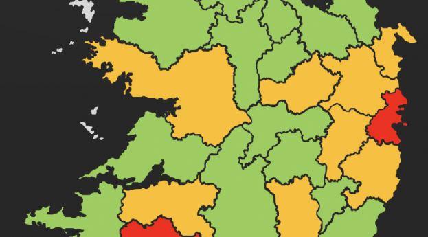 Mapa zarażeń koronawirusem w Irlandii z podziałem na hrabstwa.