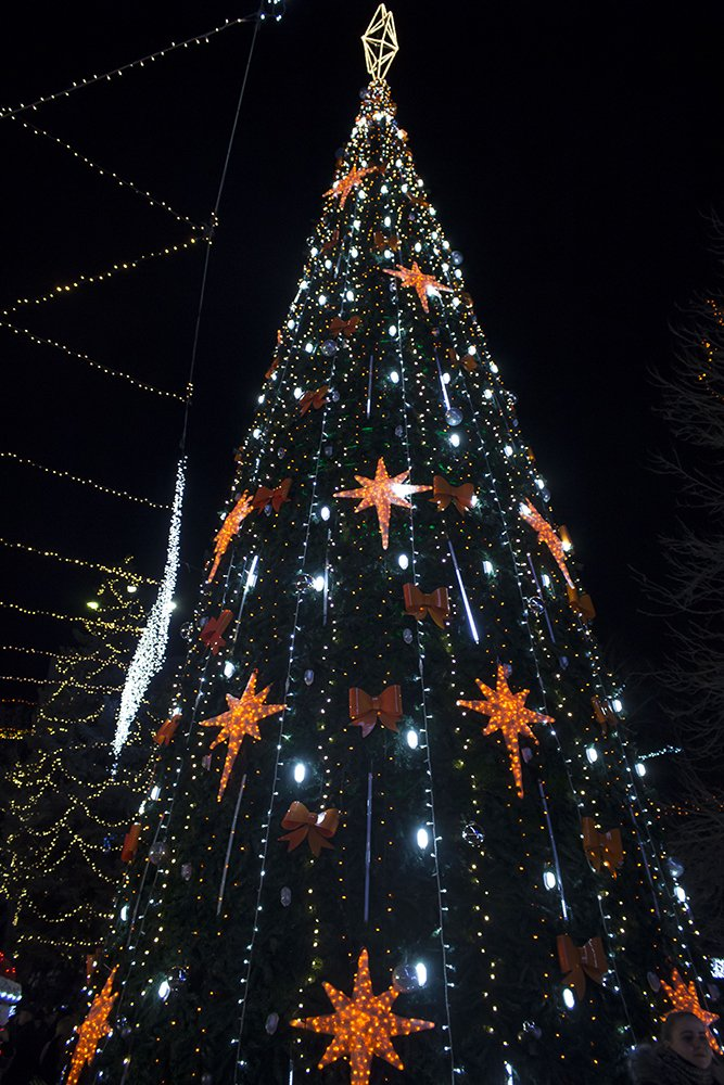 Christmas Fair in Chisinau, Moldova   Christmas tree at Orange Christmas village