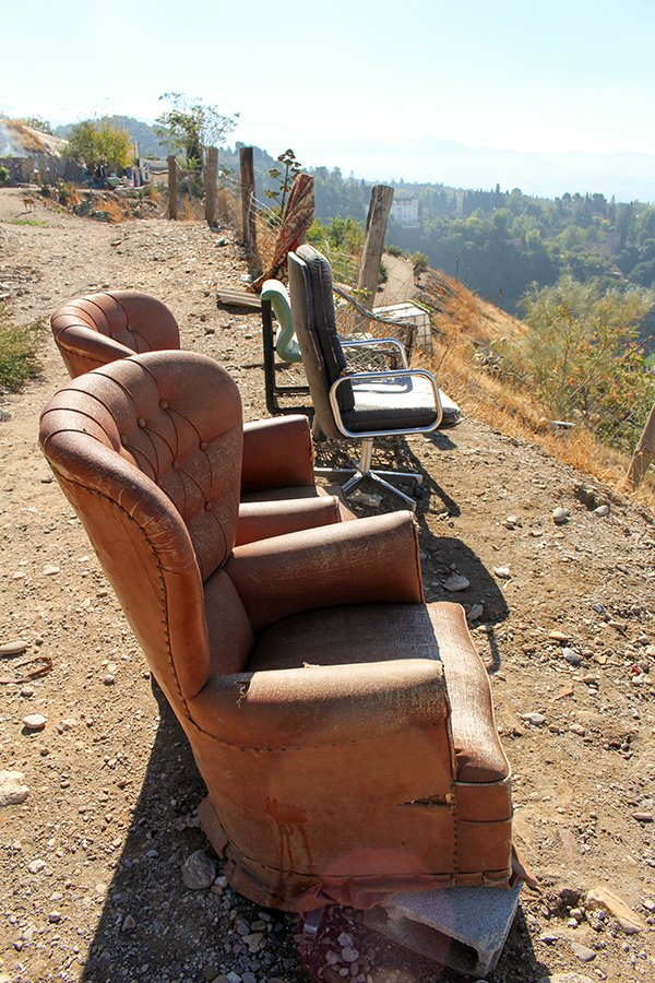 3 Weeks of Solo Travel in Spain, Part 3: things to do in Granada | Chairs at Ermita de San Miguel Alto