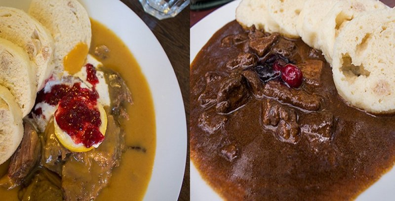Traditional Czech food to eat in Prague   Svickova and goulash