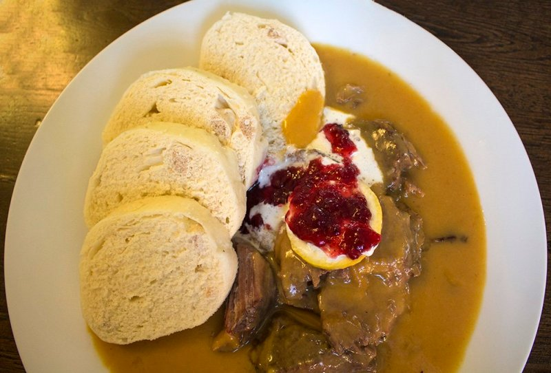 Traditional Czech food to eat in Prague | Svickova with knedliki