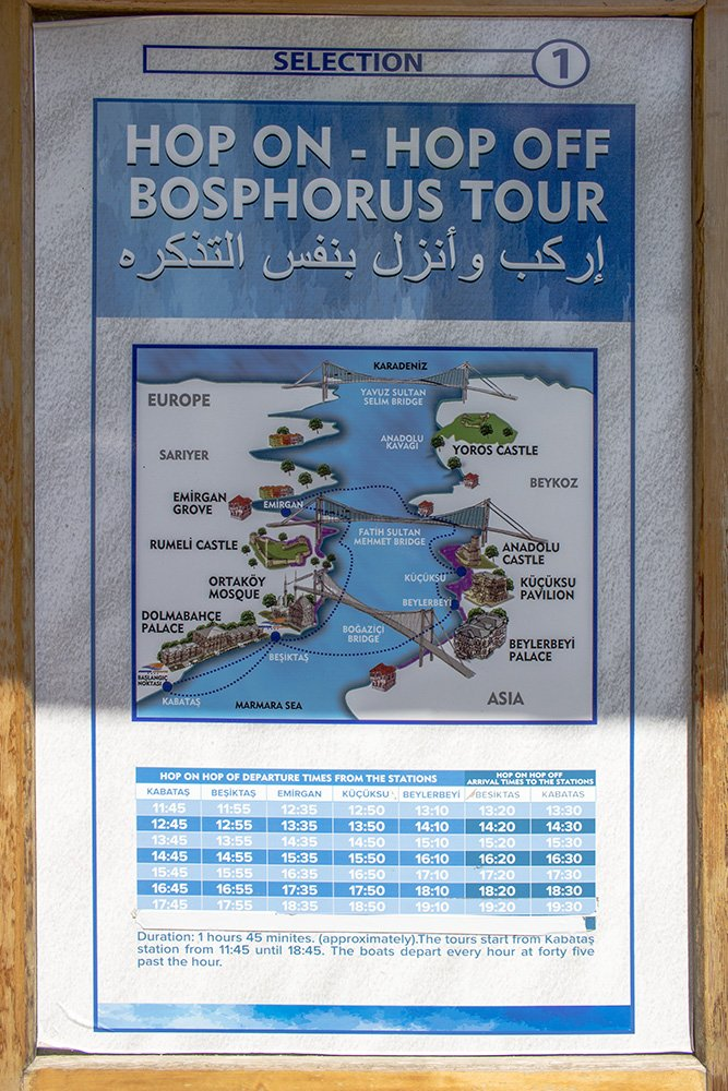 20 useful travel tips for Istanbul | The timetable and route for the Bosphorus tour