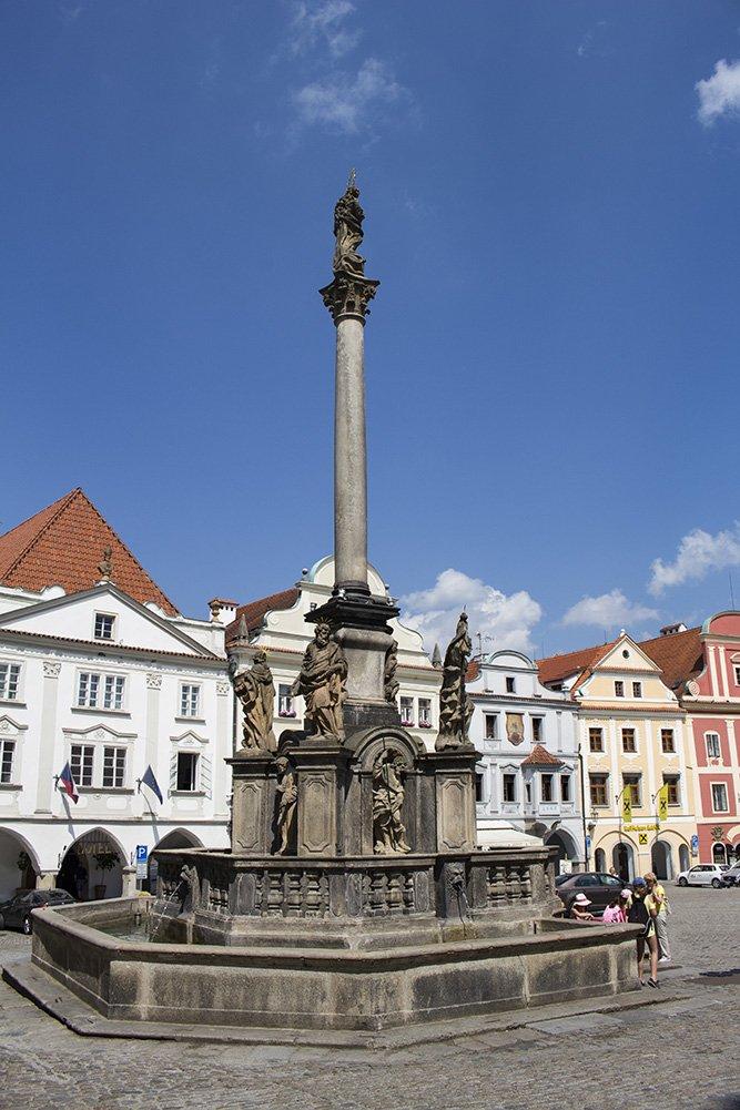 A day trip from Prague to Cesky Krumlov Castle   The Plague Column on Svornosti Square