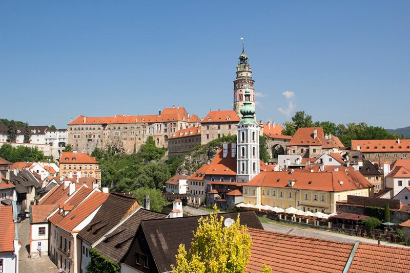 A day trip from Prague to Cesky Krumlov Castle | View of Cesky Krumlov from the park