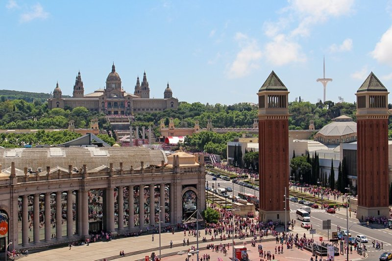 What to See in Barcelona in One Day | View of Placa d'Espanya from Arenas de Barcelona