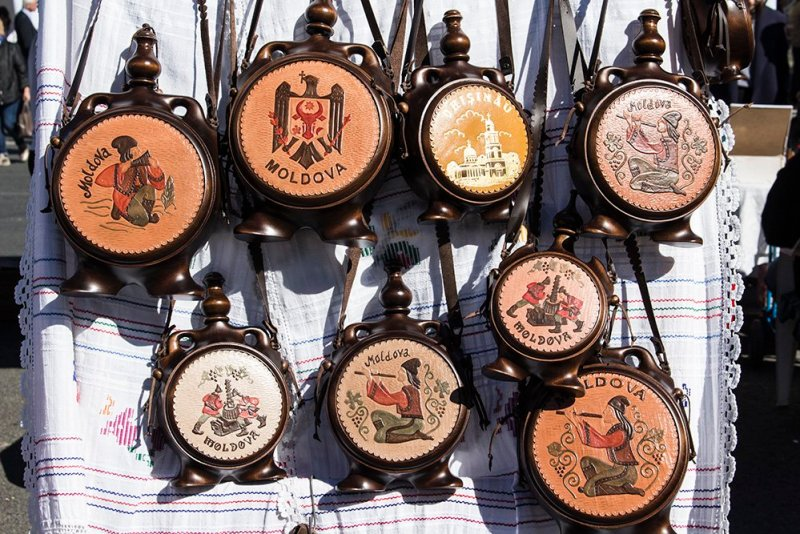 Wine flasks for sale at the Wine Festival in Chisinau