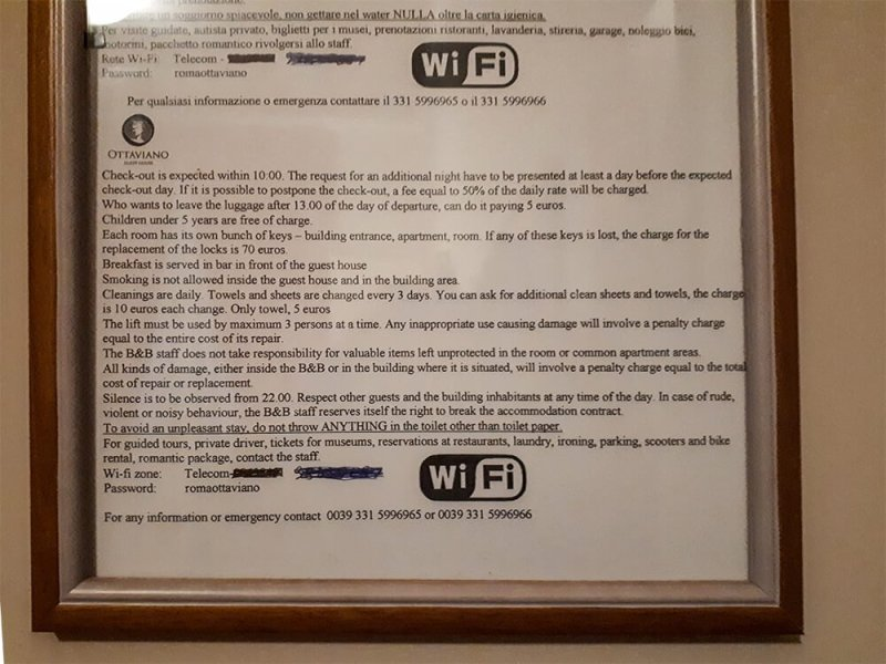 House rules of Ottaviano Guest House