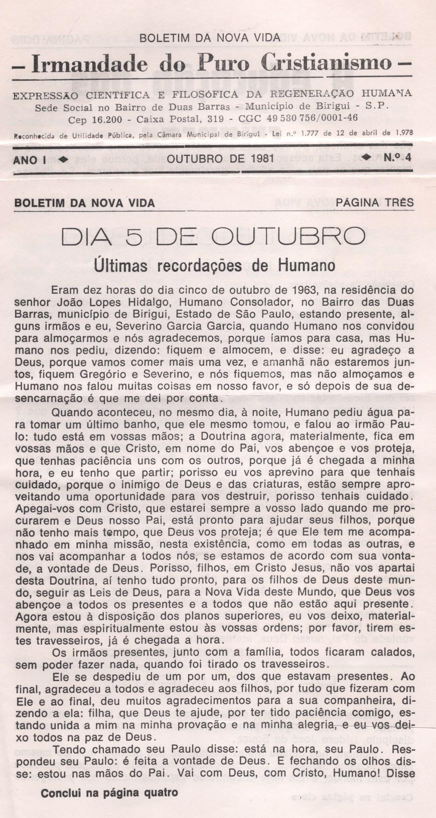 Boletim da Nova Vida - Edição de outubro de 1981 página três