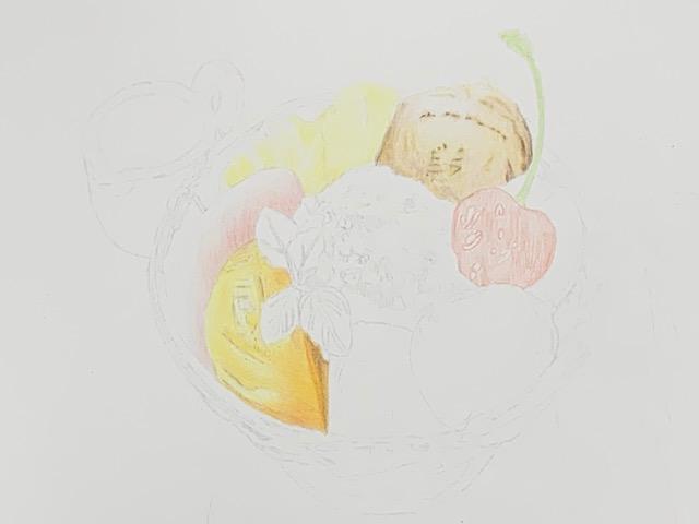 色鉛筆 クリームあんみつ ガラス メイキング