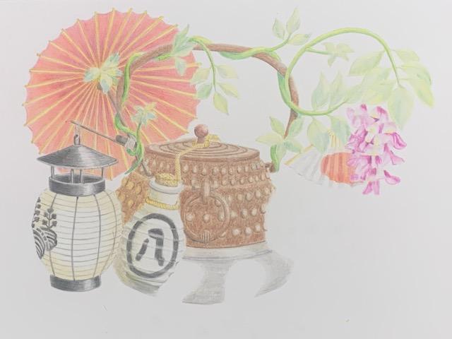 色鉛筆 分福茶釜 昔話 イラスト