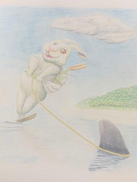 色鉛筆 因幡の白兎 昔話 イラスト