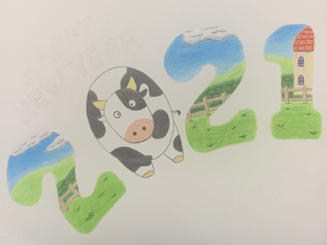 色鉛筆 年賀状 牛 丑 イラスト