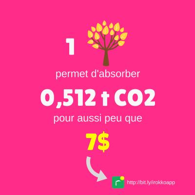 un arbre permet d'absorber 0,5 tonnes de CO2 pour seulement 7$
