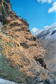 Negotiating the rocky broken terrains of the Garhwal Himalayas.