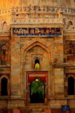 The ceramic tiles seen above the arch gives the monument the name 'Sheesh Gumbad' meaning the glass dome.