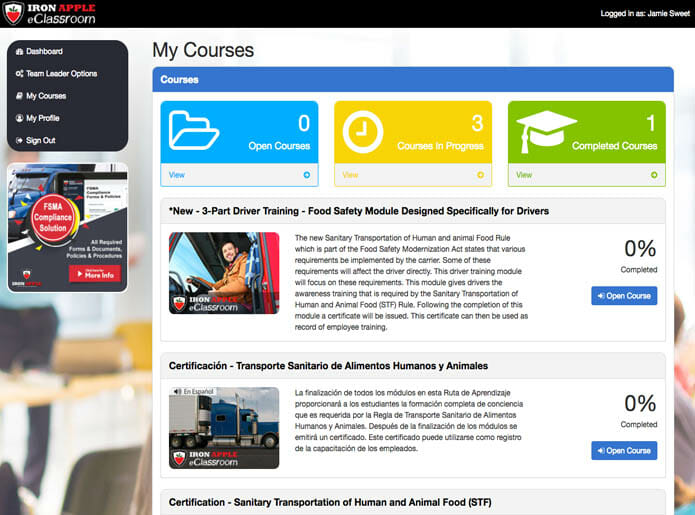 Iron Apple eClassroom - User Dashboard with Course List