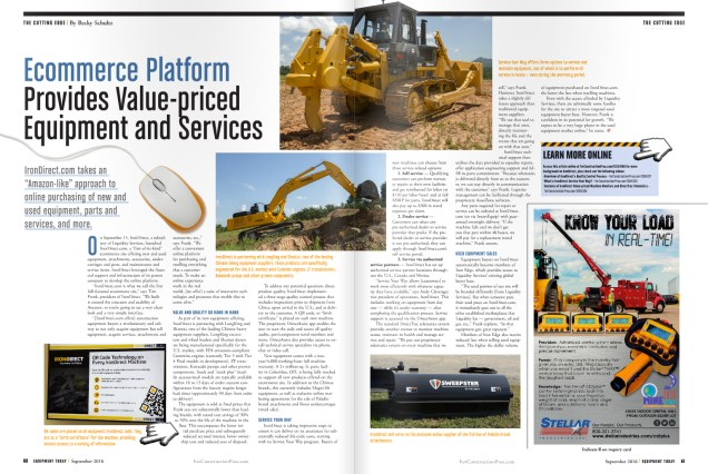 Equipment Today published a two-page spread on the IronDirect platform.