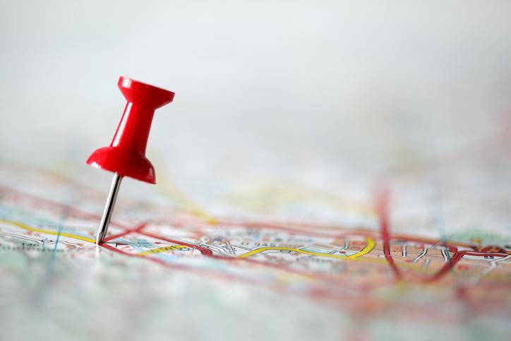 Pushpin on map
