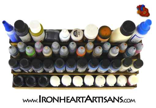4 Tier Stepped Paint Rack top view filled