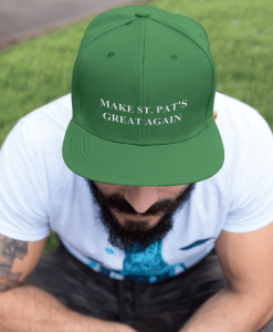 Make St. Pat's Great Again Hat Guy Sitting on Bench