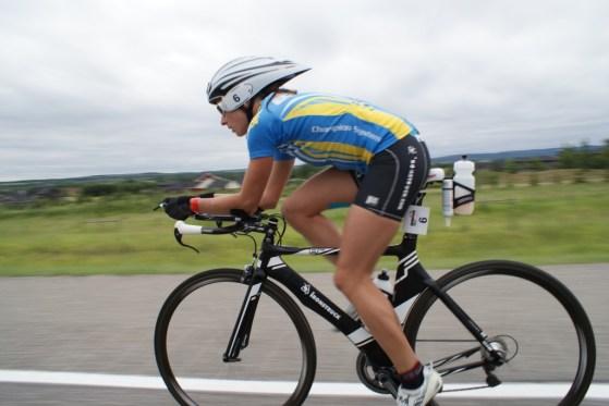 Ironstruck sponsors Pro triathlete Olesya Prystayko-Calgary bike course
