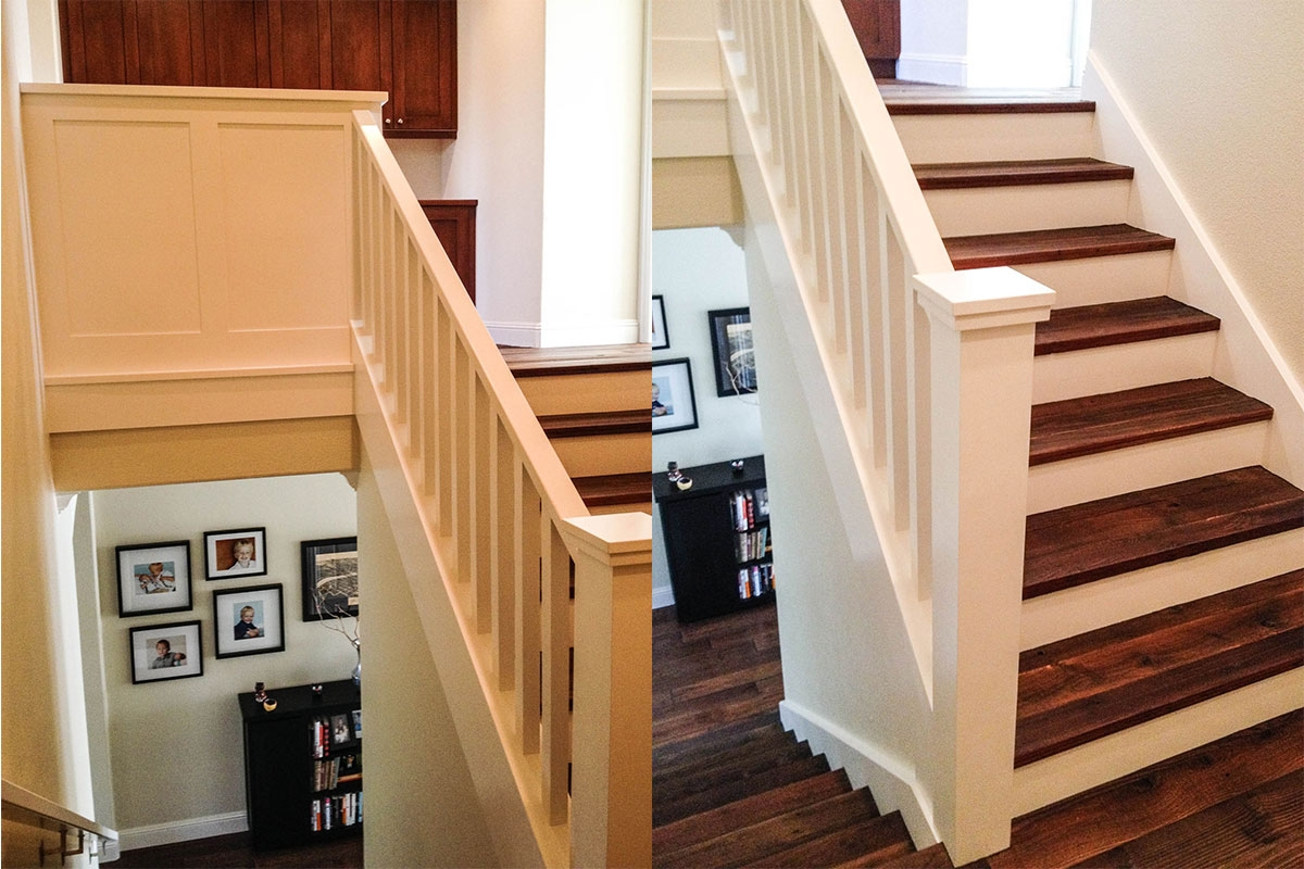 Work Ironwood Carpentry Finish Carpentry Contractor   Craftsman Stair Railing Designs   Homemade   Simple 2Nd Floor Railing Wood Stairs Iron Railing Design   Entryway Stair   Plain Traditional Stair   Floor To Ceiling