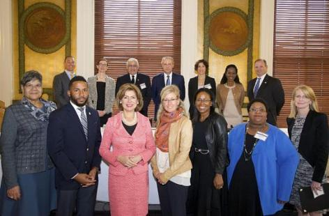 SBA Administrator Maria Contreras-Sweet, center, with ONBOARD partners at program launch, October 13, 2106