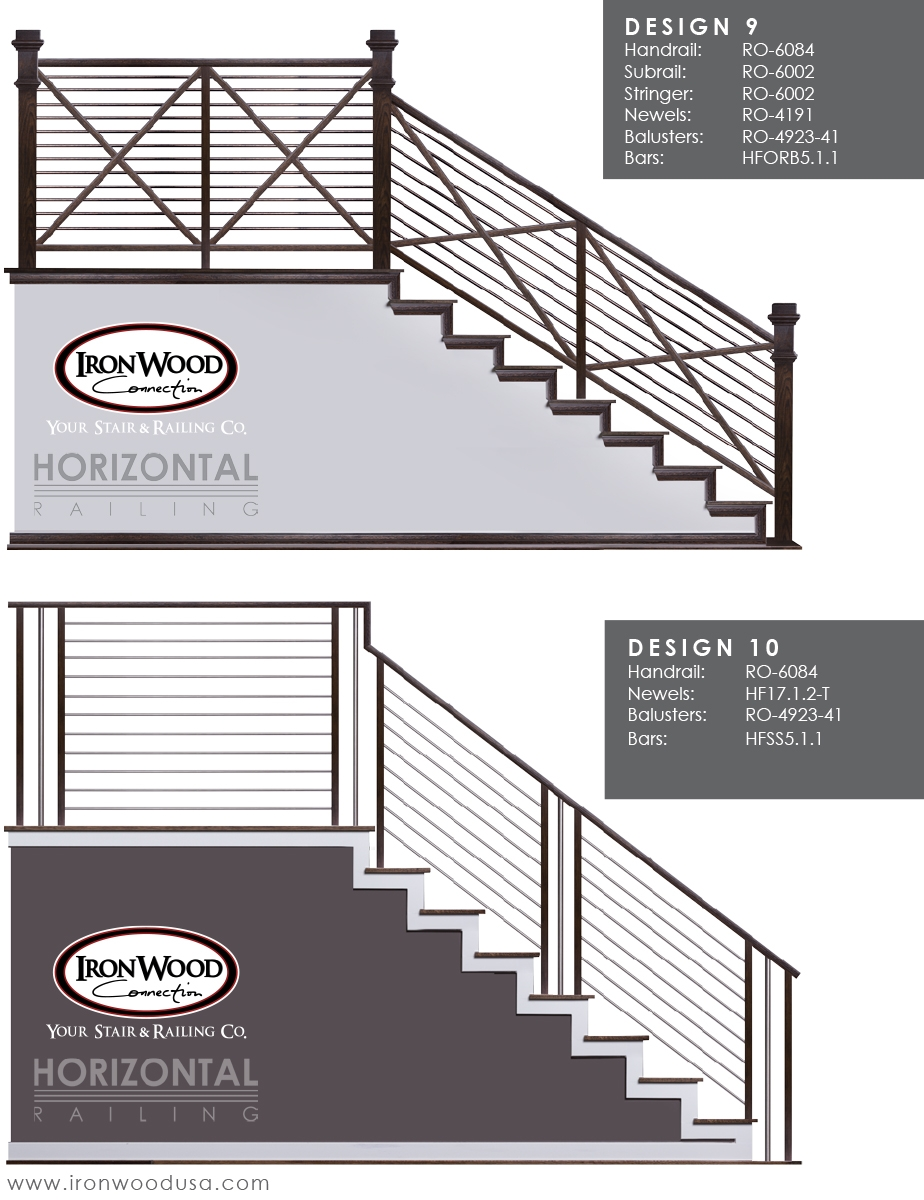 Affordable Horizontal Railing Now Available Ironwood Connection | Black Horizontal Stair Railing | Metal | Linear | Interior | Wood | Exterior