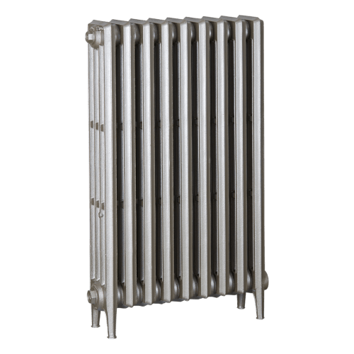 Ironworks Radiators Inc. refurbished cast iron radiator Fairlawn in Nickel Metallic