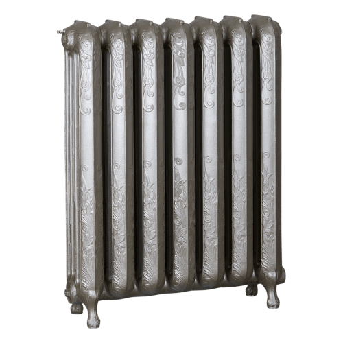 Ironworks Radiators Inc. refurbished cast iron radiator Wellington in Nickel Metallic
