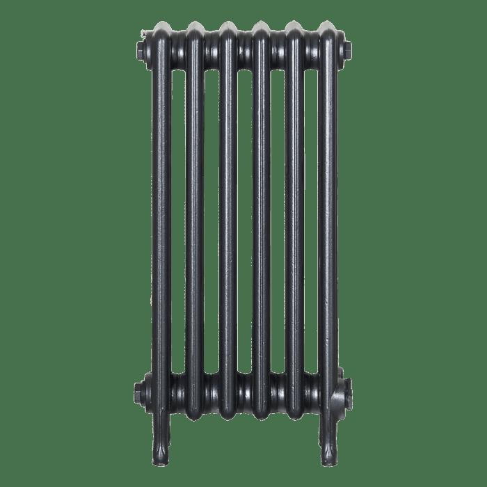 Ironworks Radiators Inc. refurbished cast iron radiator Fairbank in Black Pearl metallic
