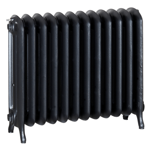 Ironworks Radiators Inc. refurbished cast iron radiator Milton in Black Pearl metallic