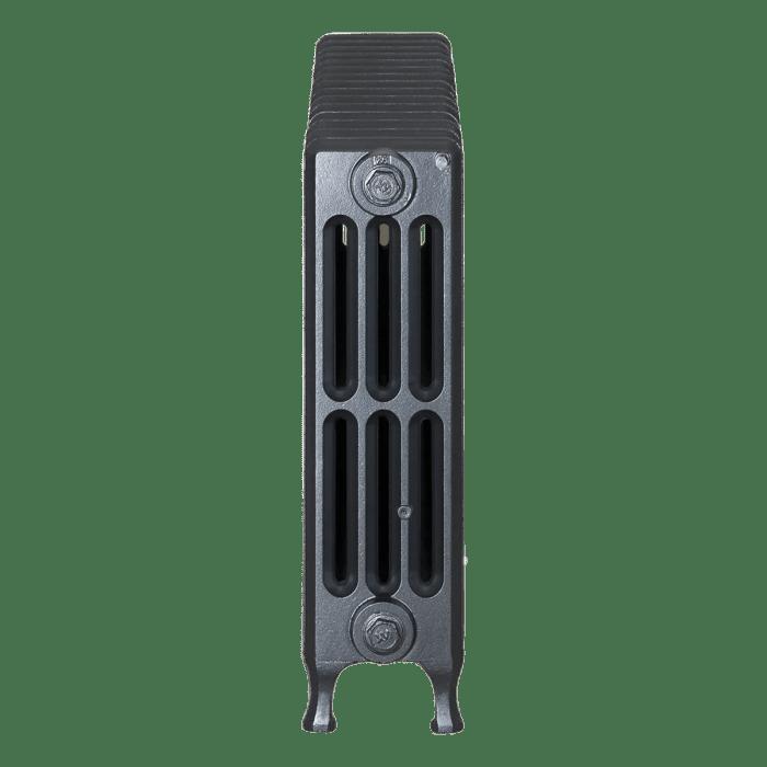 Ironworks Radiators Inc. refurbished cast iron radiator Mindenhall in Black Pearl metallic