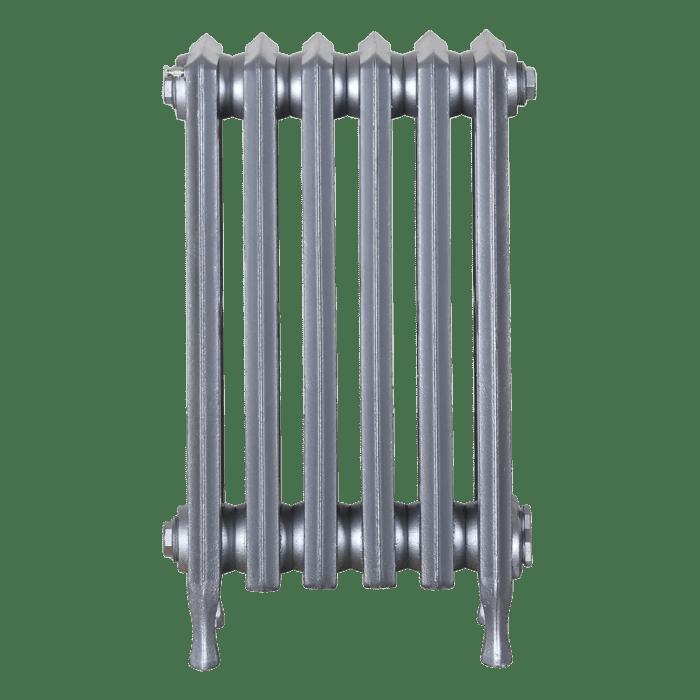 Ironworks Radiators Inc. refurbished cast iron radiator Pape in Pewter metallic