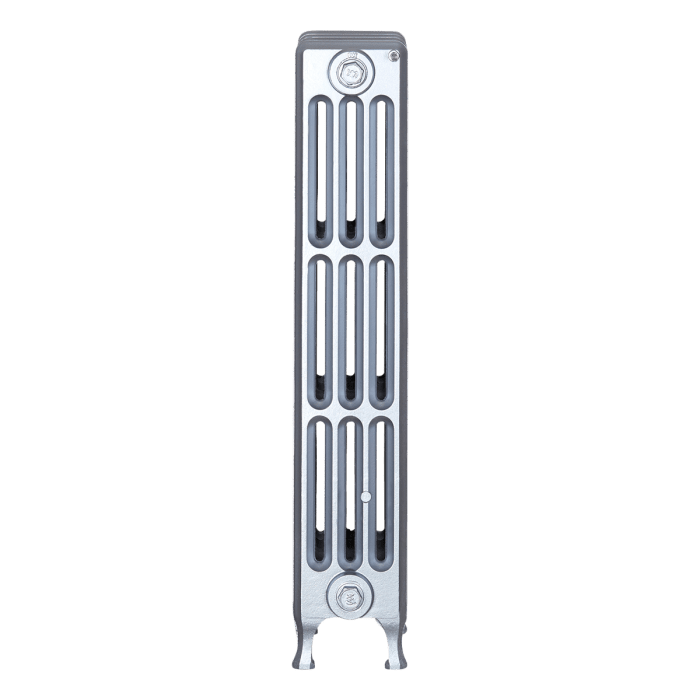 Ironworks Radiators Inc. refurbished cast iron radiator Scottfield in Pewter metallic