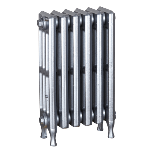 Ironworks Radiators Inc. refurbished cast iron radiator Smithwood in Pewter metallic