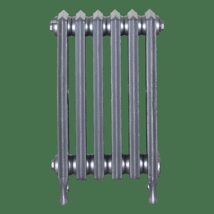 Ironworks Radiators Inc. refurbished cast iron radiator Smithwood in Pewter metallic