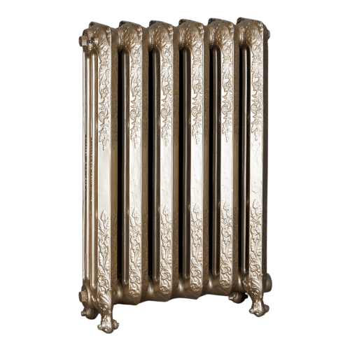 Ironworks Radiators Inc. refurbished cast iron radiator Cassandra in Champagne metallic