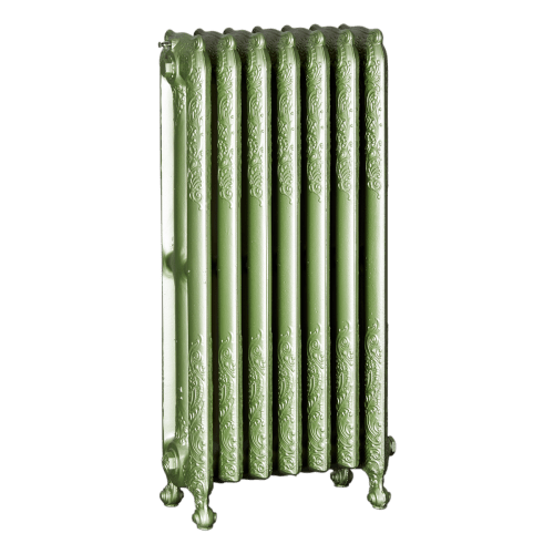 Ironworks Radiators Inc. refurbished cast iron radiator Darlington in Sage metallic
