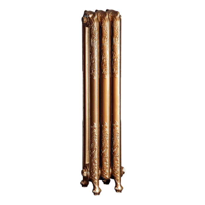 Ironworks Radiators Inc. refurbished cast iron radiator Euclid in Pale Gold metallic