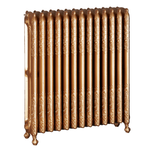 Ironworks Radiators Inc. refurbished cast iron radiator Foxley in Gold Rush metallic