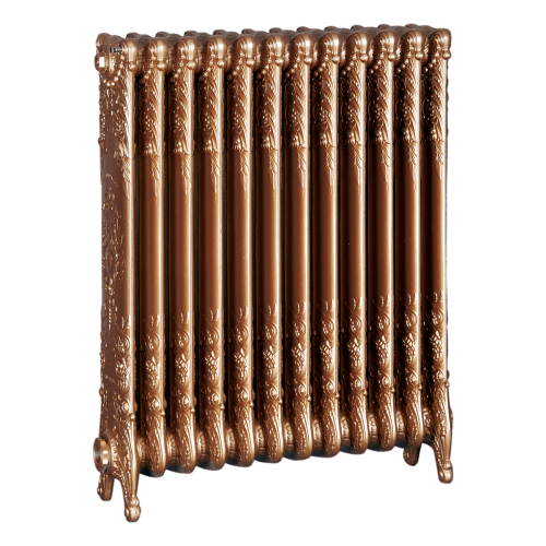 Ironworks Radiators Inc. refurbished cast iron radiator Glencairn in Gold Rush metallic