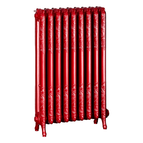 Ironworks Radiators Inc. refurbished cast iron radiator Irene in Sashay Red metallic