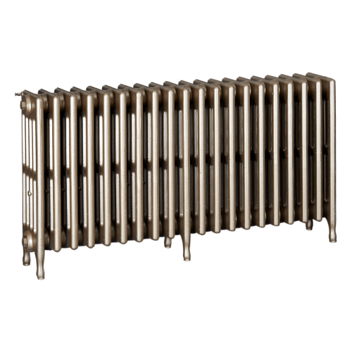 Ironworks Radiators Inc. refurbished cast iron radiator Mavety in Champagne metallic